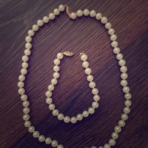 Authentic Pearl Necklace and Bracelet